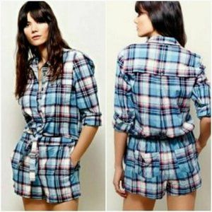 NEW Free People plaid tie front romper